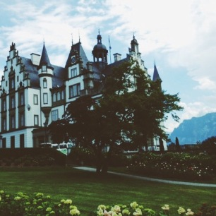 a castle on a vineyard in Switzerland