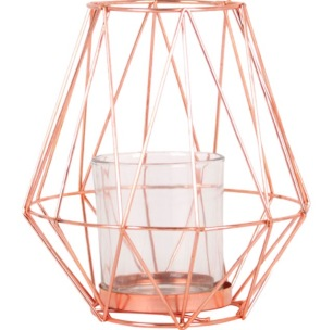 geometric copper candle holder, Mench Living UK