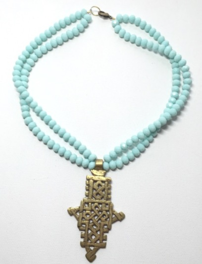 Aqua crystal & carved African brass choker
