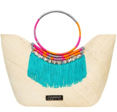 Natural Iraca Fringe Beach Bag, Caffe Swimwear