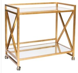 Worlds Away Gold leaf Bar Cart, zinc door