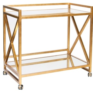 Worlds Away Gold leaf Bar Cart, zinc door