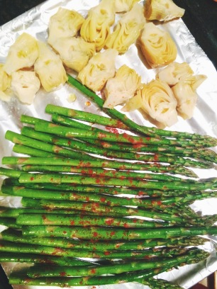 artichokes & paprika-dusted asparagus getting ready to roast