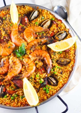 seafood paella with saffron aioli, via Platings and Pairings